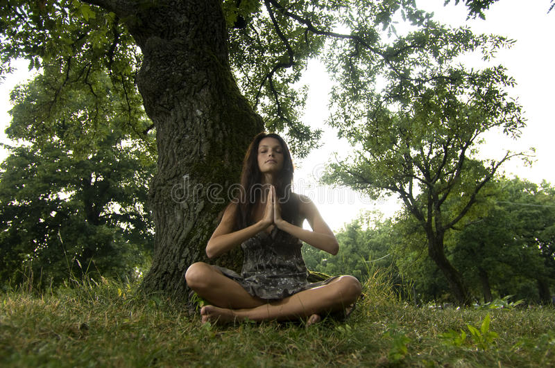 Download Beautiful Young Woman Meditating In Nature Stock Photo - Image: 12413342