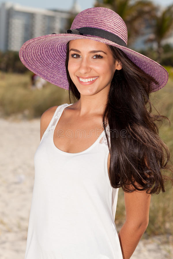 Beautiful Young Woman In Miami Beach Royalty Free Stock Photos