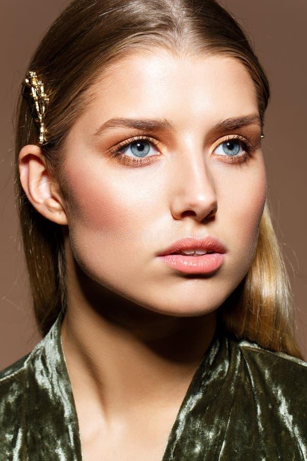 Beautiful girl with natural makeup and long hair stock images