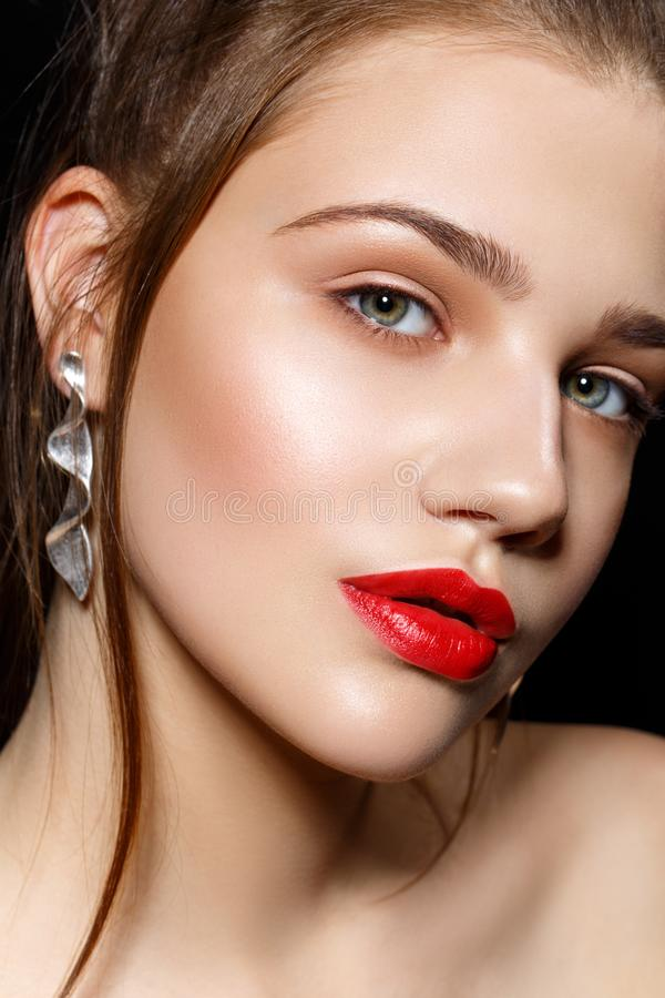 Beautiful girl with red lips royalty free stock photo
