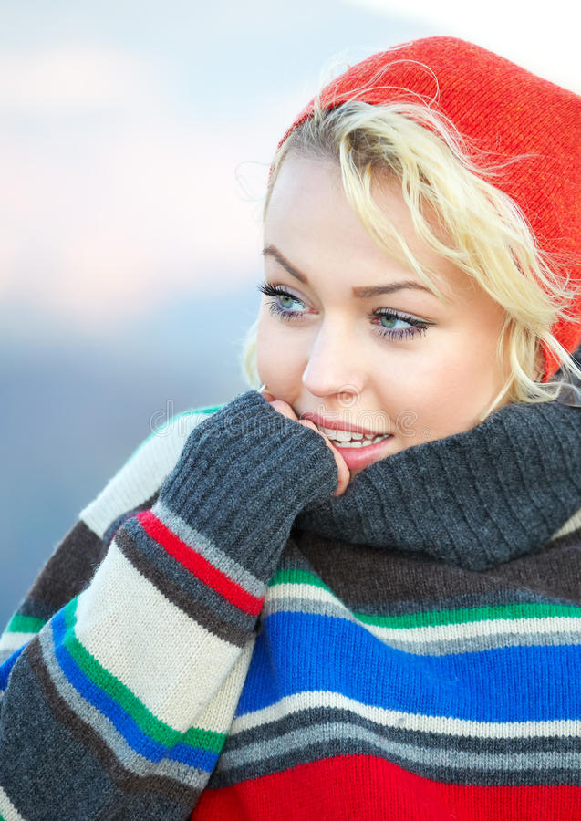 Beautiful young woman outdoor in autumn royalty free stock photography