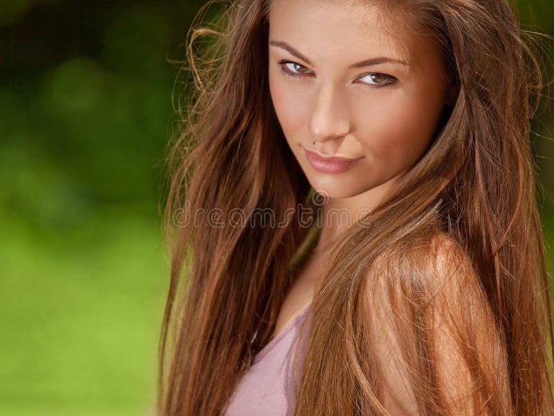 Beautiful Young Woman Outdoors. Beauty Girl Enjoying Nature. Beauty Face stock image