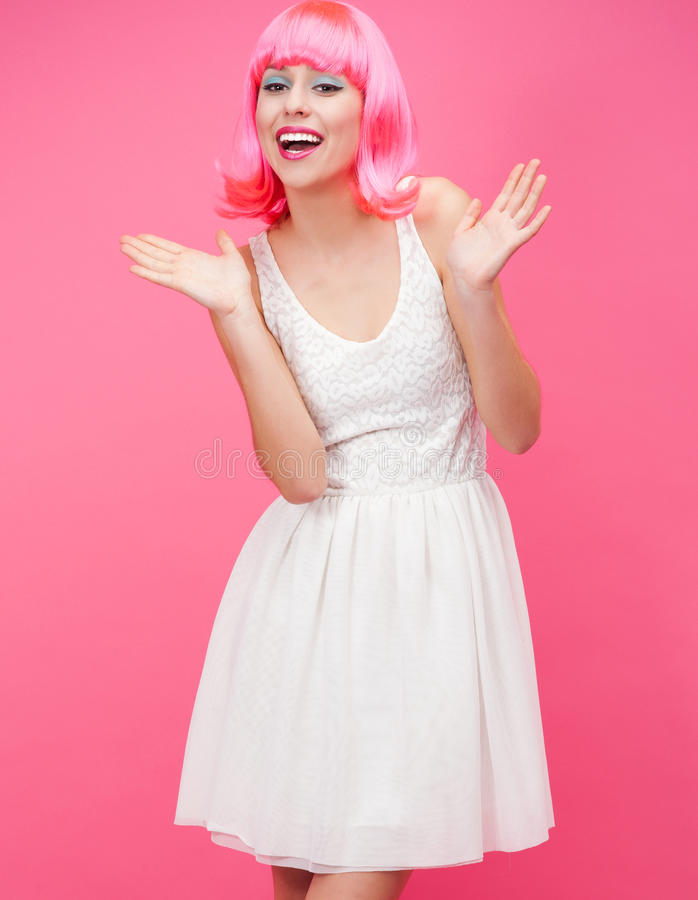 Download Beautiful Young Woman Over Pink Background Stock Image - Image: 28280893
