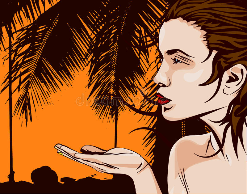 Beautiful young woman with palm, vector image stock illustration