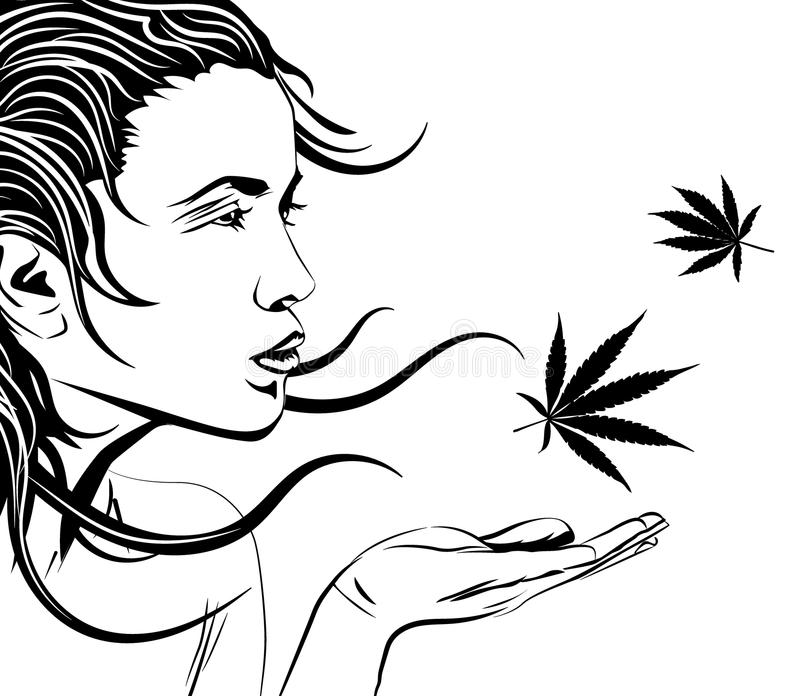 Beautiful young woman with palm, vector image royalty free illustration
