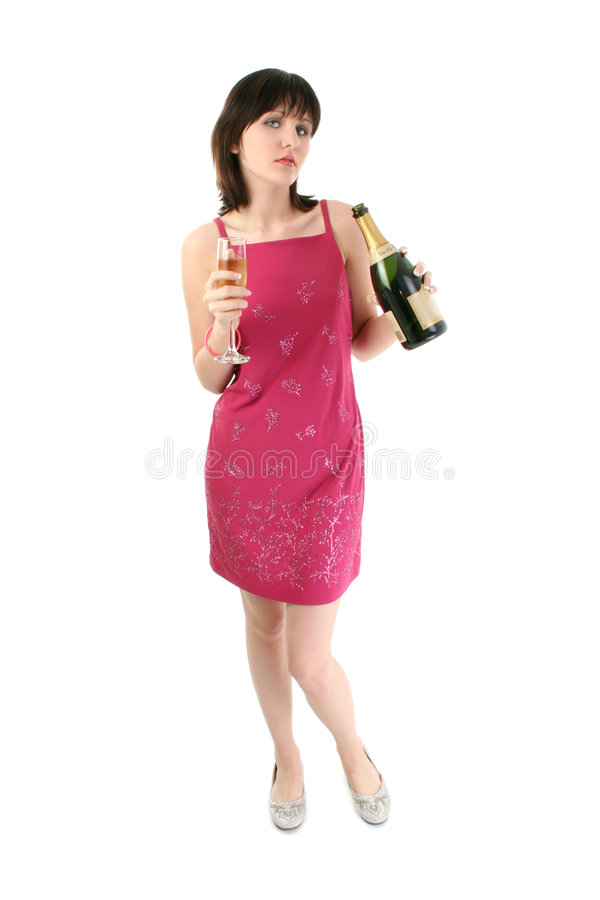Beautiful Young Woman in Party Dress with Champagne. Shot in studio over white stock photography