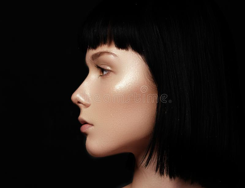 Beautiful young woman with perfect clean shiny skin, natural fas. Hion makeup. Close-up woman, fresh spa look stock images
