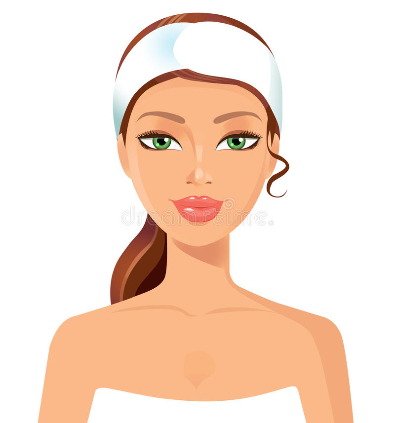 Beautiful young woman perfect face with towel. Skin beauty spa s. Kincare concept. eps 10 royalty free illustration
