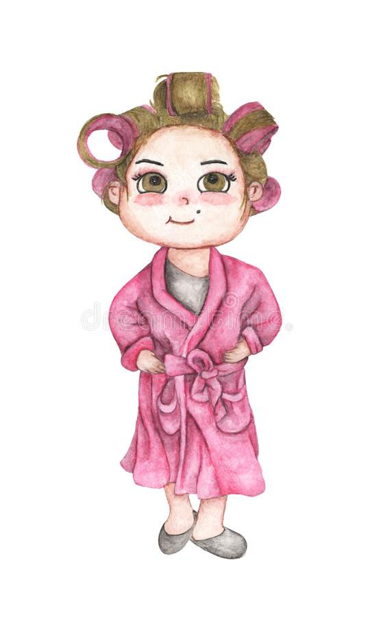 Beautiful young woman in pink bathrobe with hair curlers. Pink hair rollers. Isolated on white background. Hand Drawn and Painted. Watercolor illustration royalty free illustration