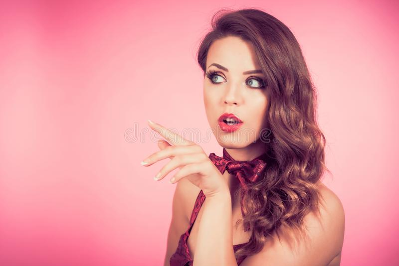 Woman Pointing At Something Interesting royalty free stock photo