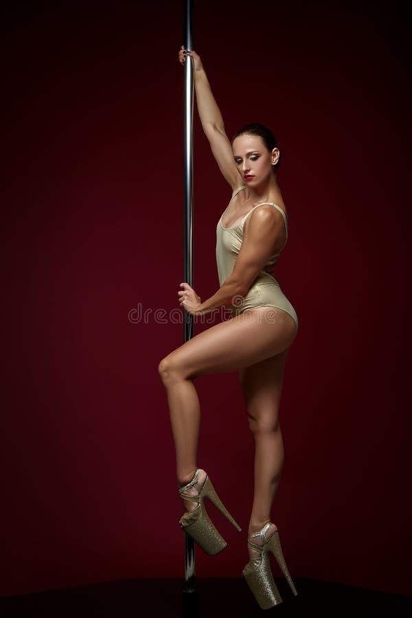 Beautiful pole dancer in golden bodywear on pylon stock images