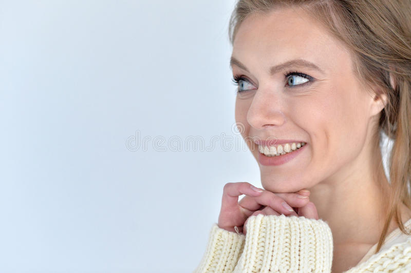 Beautiful young woman. Portrait of a beautiful young woman close up stock photos
