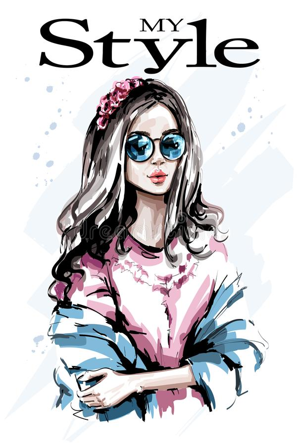 Beautiful young woman portrait. Fashion woman with flower wreath in hair. Cute girl. Sketch. Vector illustration royalty free illustration