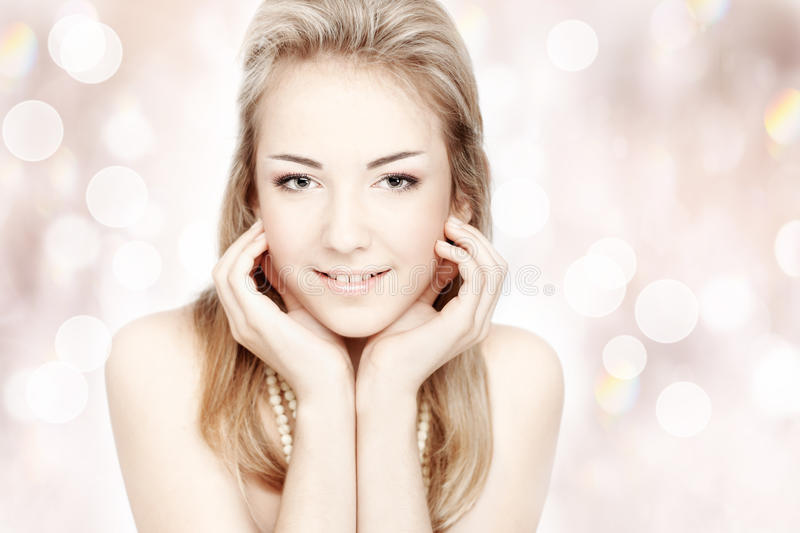 Beautiful young woman. Portrait over abstract royalty free stock photos