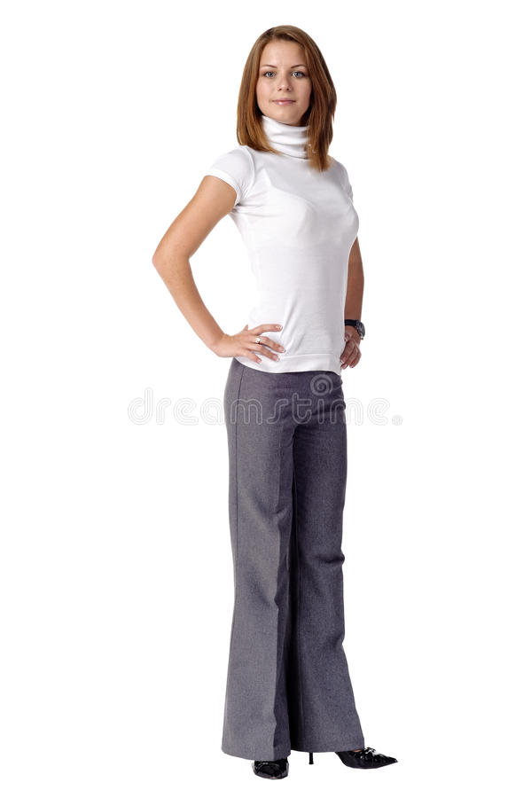 Beautiful young woman posin. G. Isolated over white background stock image