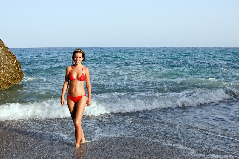 Beautiful Young Woman Posing On The Beach Stock Photos
