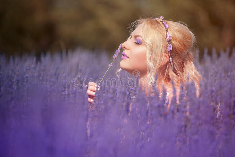 Beautiful young woman posing in a lavender field stock photography