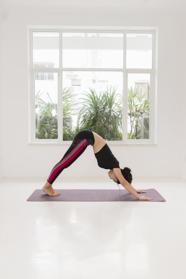 Beautiful young woman practices yoga asana Adho Mukha Svanasana - downward facing dog at the yoga class royalty free stock images