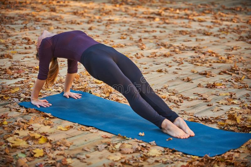 Beautiful young woman practices yoga asana Purvottanasana Upward Plank Pose on the wooden deck in the autumn park. Beautiful young woman practices yoga asana stock images