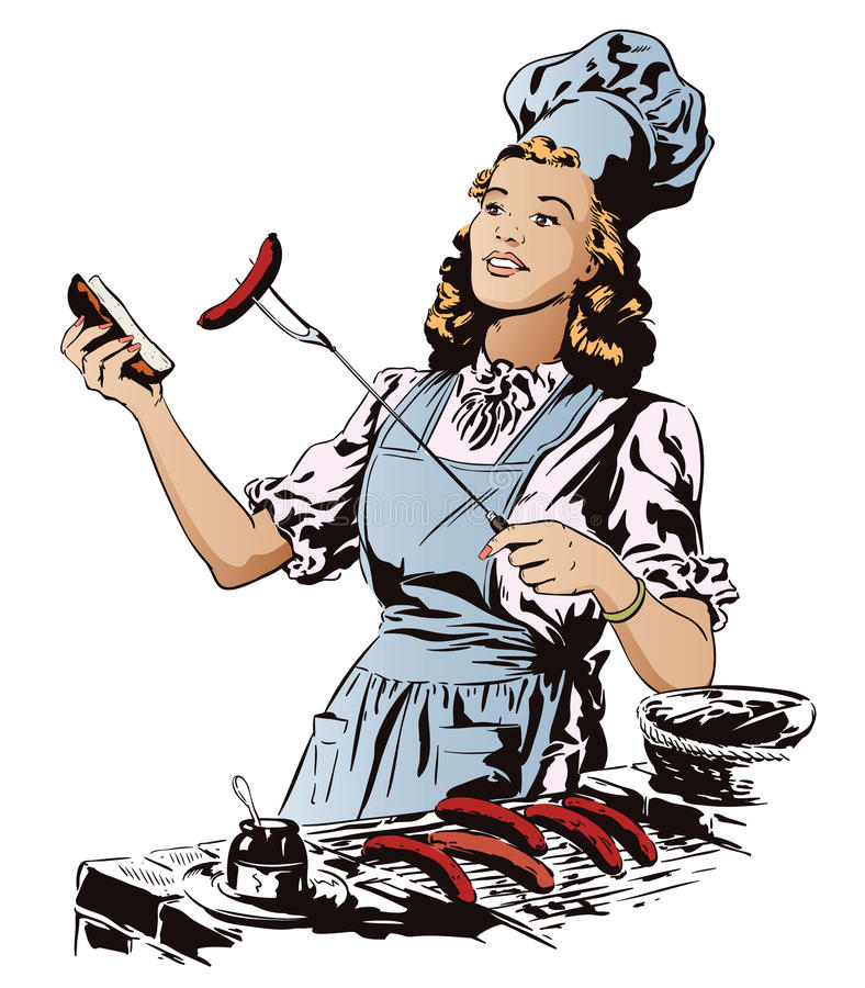 Beautiful young woman is preparing a barbecue. People in retro stock illustration