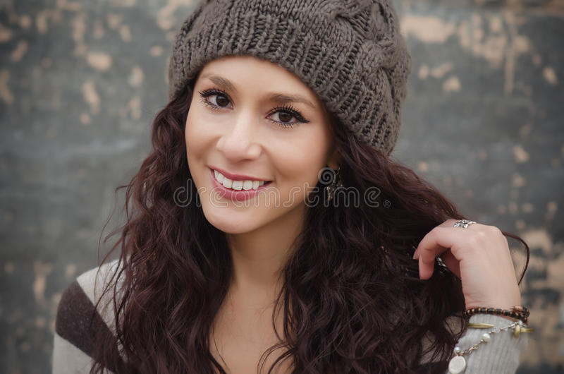 Beautiful young woman with pretty smile stock photography