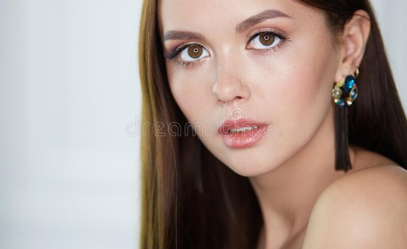 Beautiful young woman with professional make up.  stock image