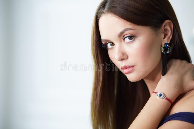 Beautiful young woman with professional make up.  royalty free stock image