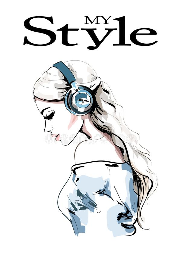 Beautiful young woman profile. Hand drawn woman portrait. Fashion girl in headphones. Sketch. royalty free illustration