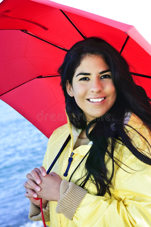 Download Beautiful Young Woman In Raincoat With Umbrella Stock Image - Image: 9960077