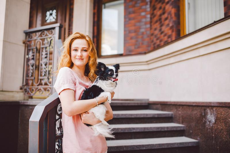 A beautiful young woman with red long hair is holding a small, cute funny big-eyed dog of two flowers, a black-and-white pet of th stock photos