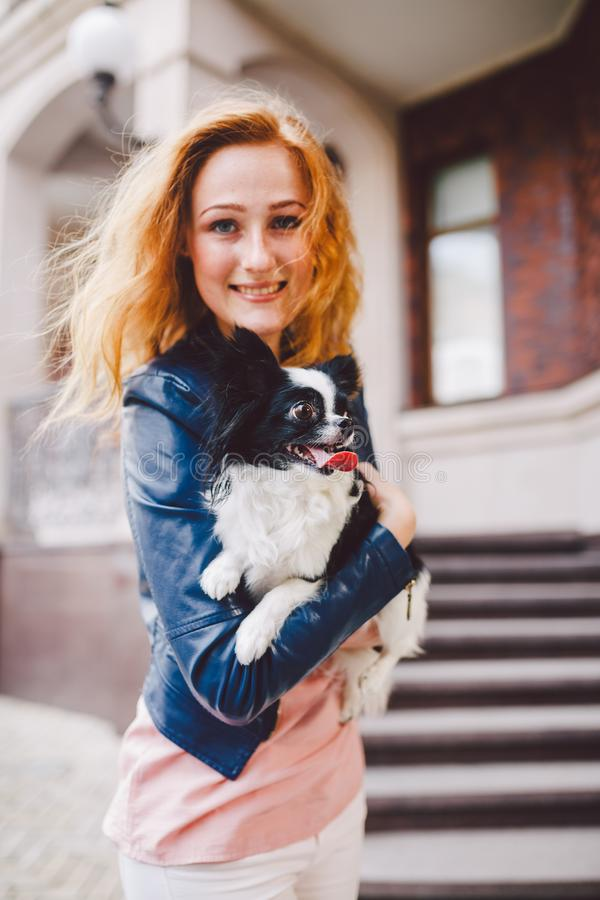 A beautiful young woman with red long hair is holding a small, cute funny big-eyed dog of two flowers, a black-and-white pet of th stock photo