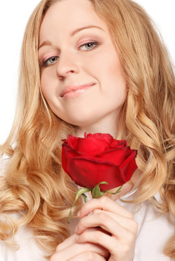 Download Beautiful Young Woman With Red Rose Stock Image - Image: 18312883