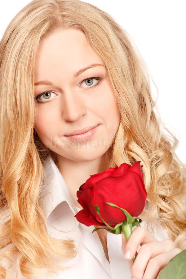 Download Beautiful Young Woman With Red Rose Stock Photo - Image: 18312904