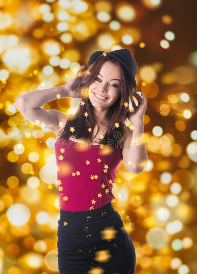 Woman and sparkles stock images