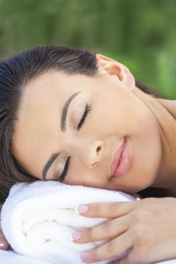 Beautiful Young Woman Relaxing At Health Spa stock photography
