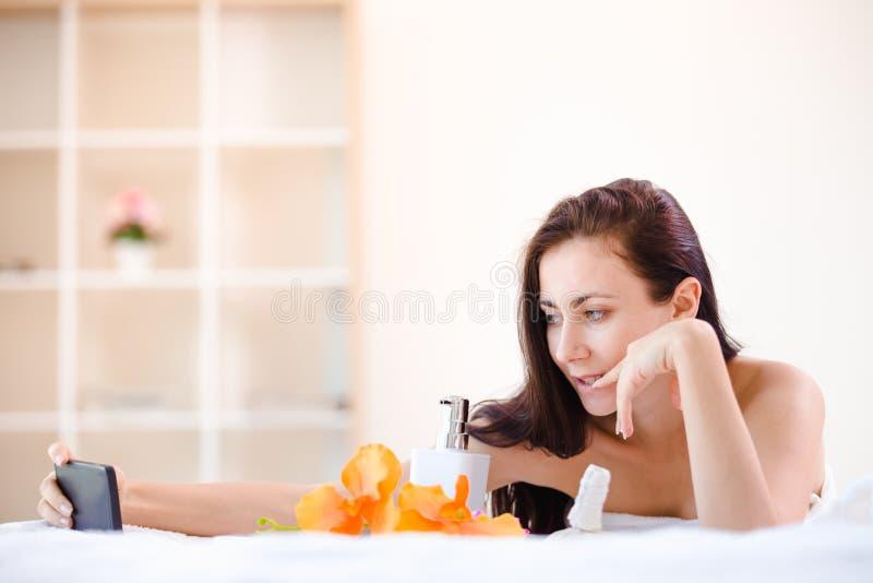 Beautiful woman spa stock photo