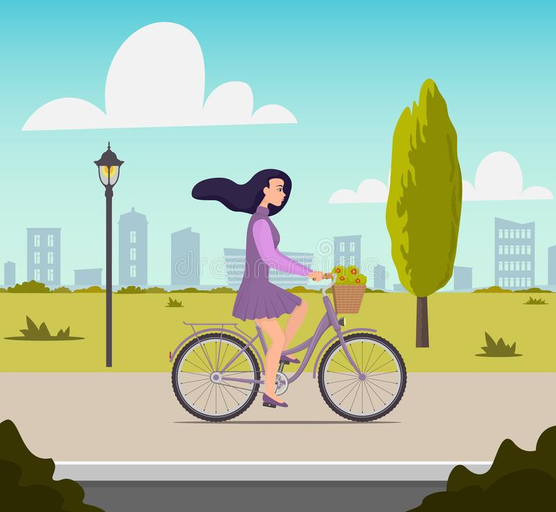 Beautiful young woman riding on a bicycle with flowers in a basket. Pretty girl in nice dress with fluttering hair in the wind stock illustration