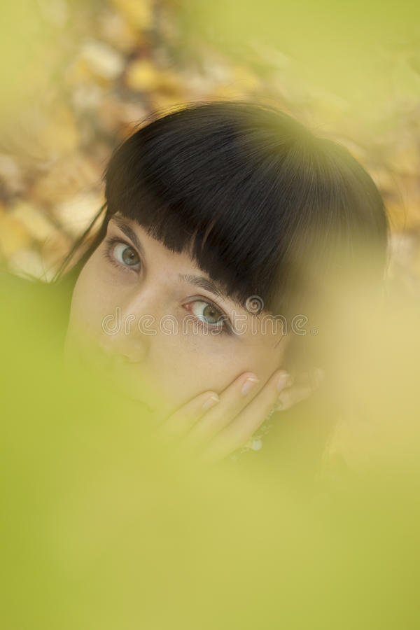 Beautiful young woman's eyes. royalty free stock images