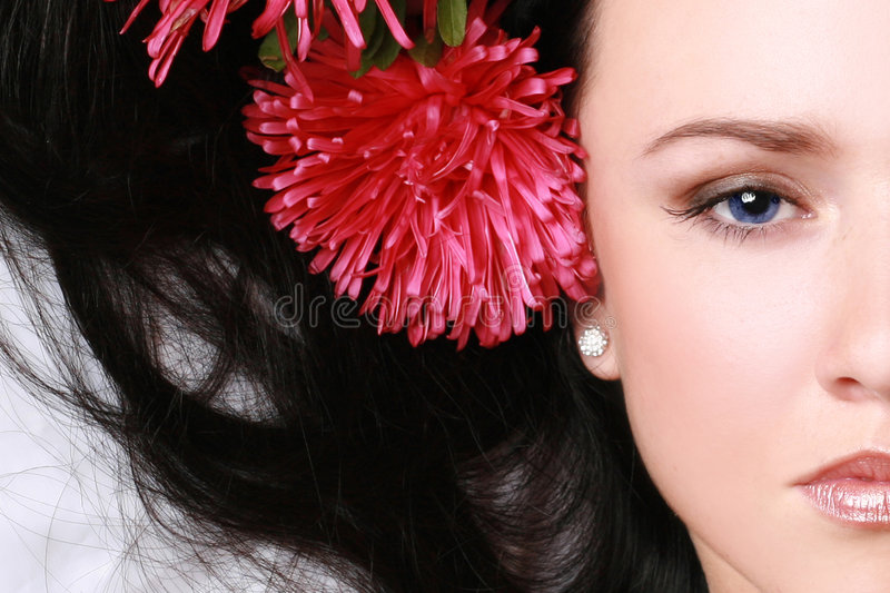 Beautiful young woman's face fragment royalty free stock images