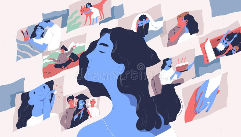Beautiful young woman and scenes from her life. Concept of memories and thoughts, positive and negative traumatic. Experience, psychological trauma. Flat stock illustration