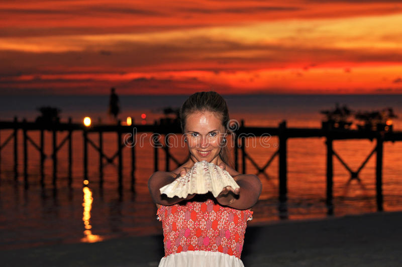 Download Beautiful Young Woman With Seashell Stock Image - Image: 18441785