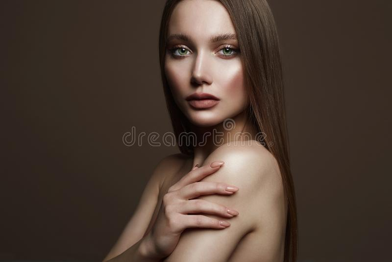 Beautiful young woman. sensual girl with beautiful make-up stock photo