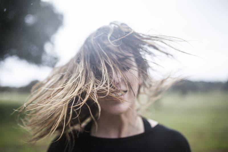 Running in the rain stock image