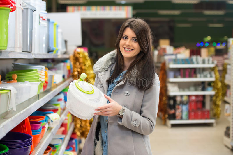 Beautiful Young Woman Shopping In A Grocery Supermarket stock image