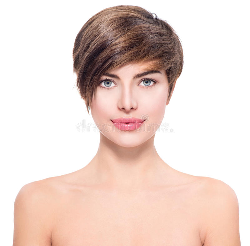 Beautiful young woman with short hair stock image