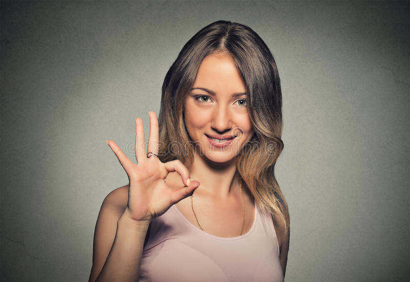 Download Beautiful Young Woman Showing Ok Sign Stock Photo - Image: 56749497
