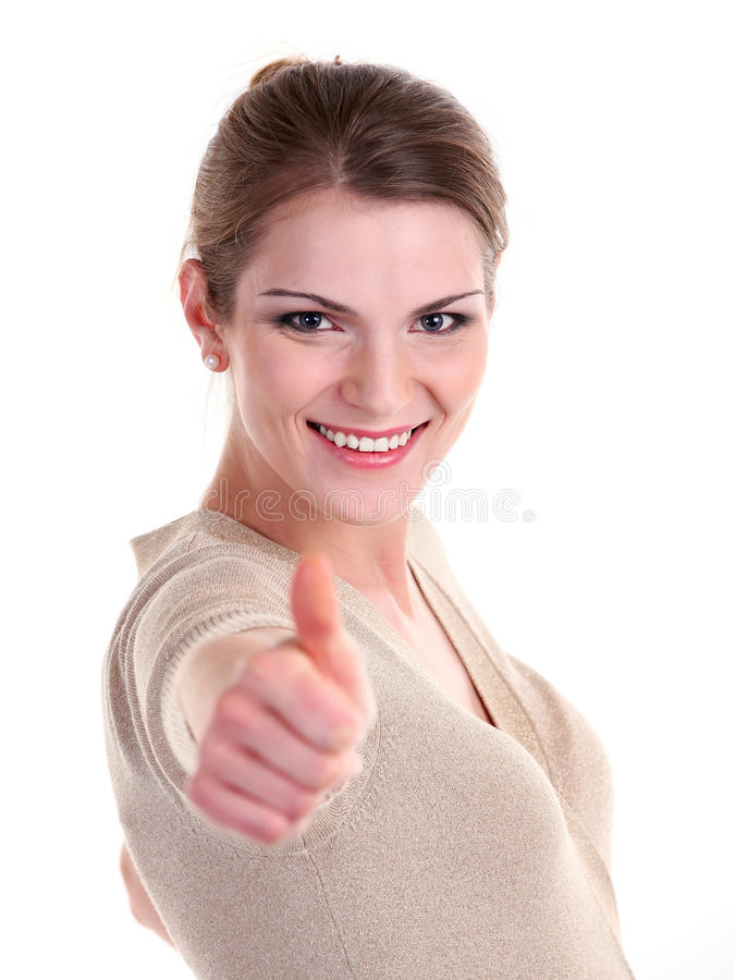 Download Beautiful Young Woman Showing Thumb Up Sign Stock Image - Image: 25510019