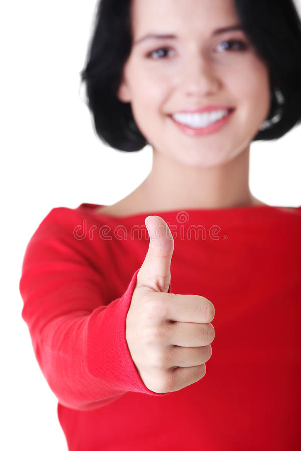 Download Beautiful Young Woman Showing Thumbs Up Sign Royalty Free Stock Photo - Image: 26366995
