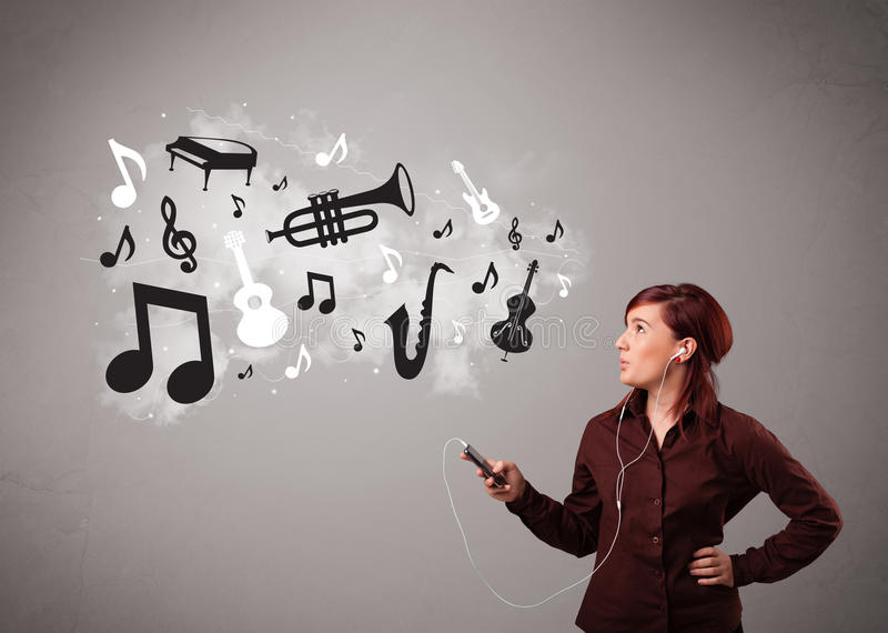 Beautiful young woman singing and listening to music with musical notes and instruments royalty free stock photos