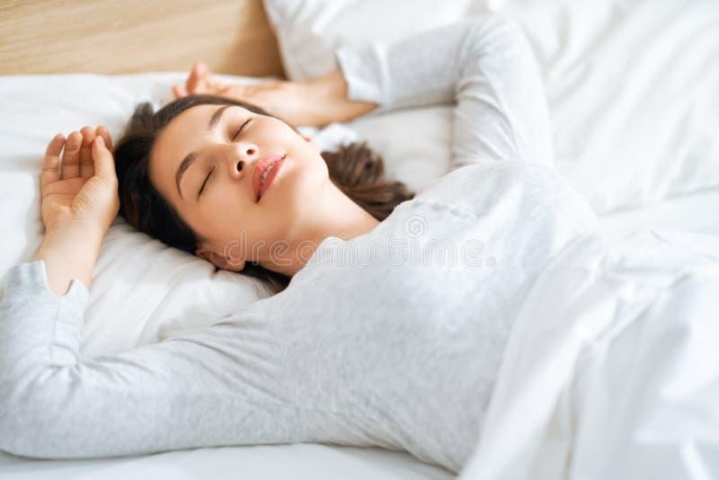 Beautiful sleeping woman stock images